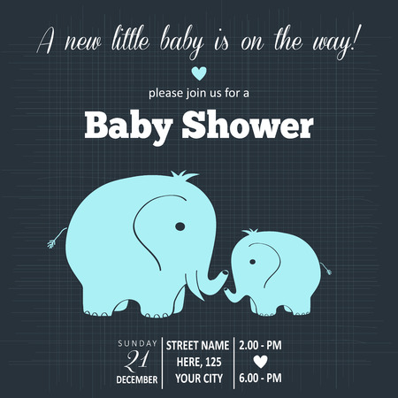 baby elephant: baby boy shower card , vector illustration