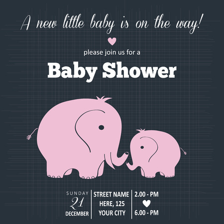 toy elephant: Baby girl  invitation for baby shower, vector format Illustration