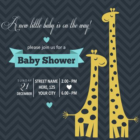 Tarjeta de Baby Shower niño, ilustración vectorial