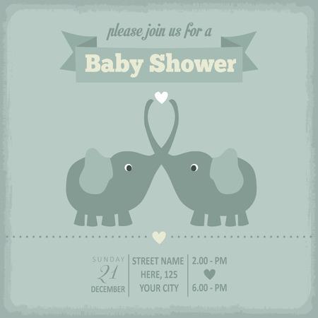 baby shower invitation in retro style, vector format Illustration