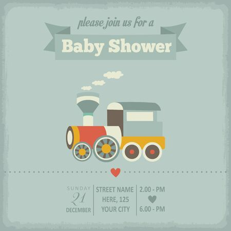toy train: baby shower invitation in retro style, vector format Illustration