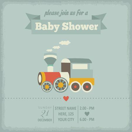 baby shower invitation in retro style, vector format Vector