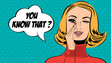 message vector: pop art cute retro woman in comics style with message, vector illustration