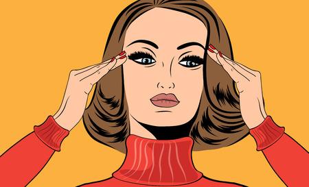 cartoon women: pop art retro woman in comics style with migraine Illustration