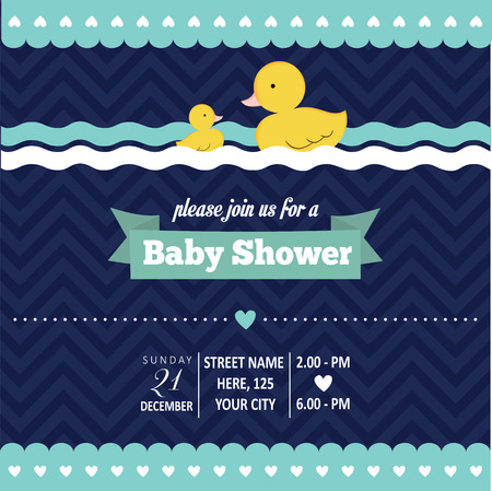 baby duck: baby shower invitation with duck in retro style