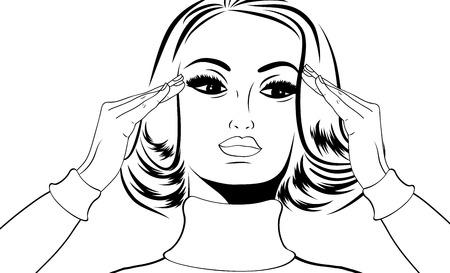 migraine: pop art retro woman in comics style with migraine, vector illustration