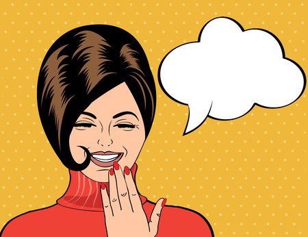 pop art cute retro woman in comics style laughing, vector illustration Vectores