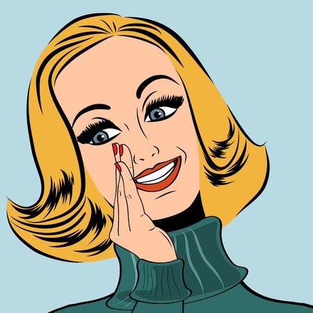 secret word: pop art cute retro woman in comics style laughing, vector illustration Illustration