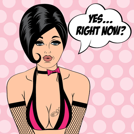adults sex: sexy horny woman in comic style, xxx vector illustration