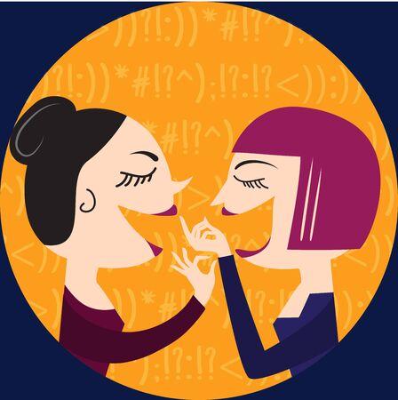 gals: Gossiping Women, illustration in vector format