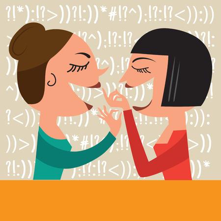 gossiping: Gossiping Women, illustration in vector format