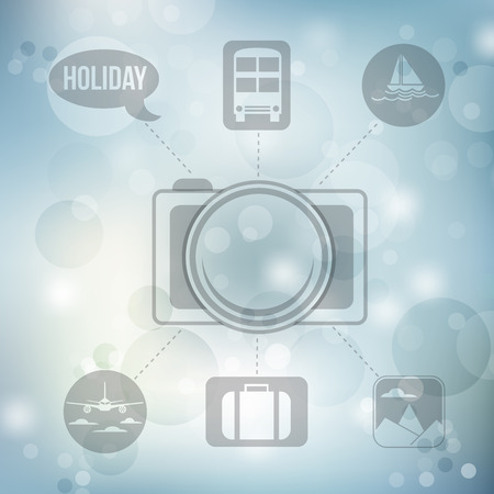 buss: Set of flat design concept icons for holiday and travel on blurred blue background, vector illustration