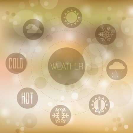 Set of flat design concept icons for weather on yellow blurred background, vector illustration Vector