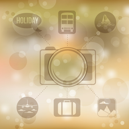 buss: Set of flat design concept icons for holiday and travel on blurred yellow background, vector illustration Illustration