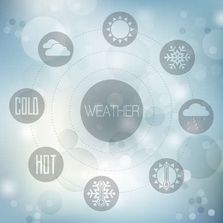 Set of flat design concept icons for weather on blue blurred background, vector illustration Vector