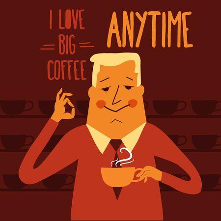 Coffee break, businessman drinking  coffee, vector illustration Vector