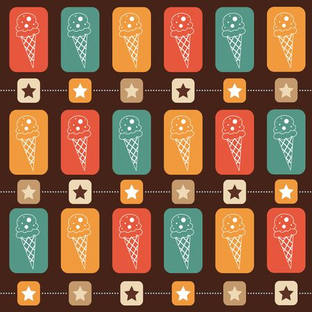Ice-cream seamless  pattern, vector format Vector