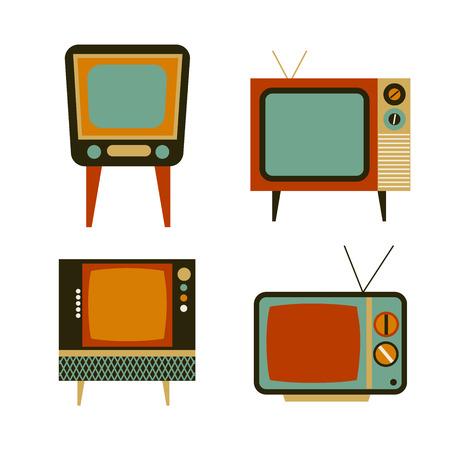 retro tv items set, vector illustration