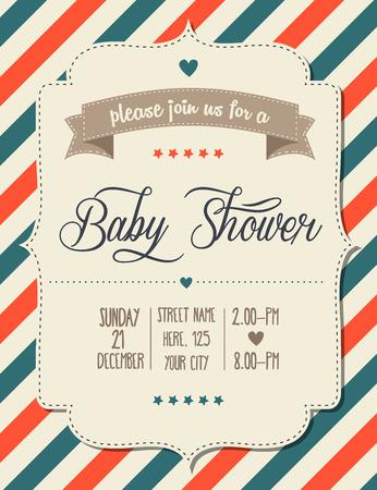 嬰兒: 嬰兒洗澡邀請復古風格,矢量格式