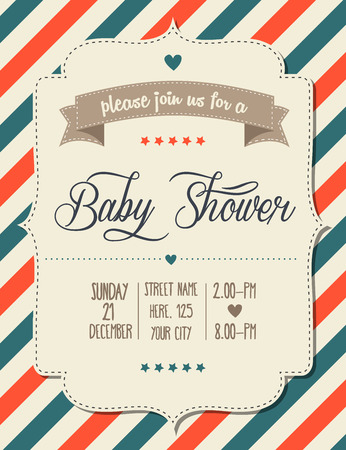 invitation card design: baby shower invitation in retro style, vector format Illustration