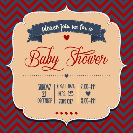 Baby Shower Invitation In Retro Style, Vector Format Vector  Format For Invitation