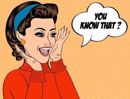 chismes: arte pop retro lindo mujer en los c�mics estilo con mensaje, ilustraci�n vectorial