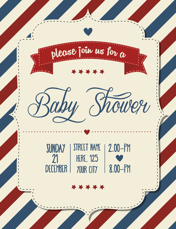 baby shower invitation in retro style, vector format  イラスト・ベクター素材