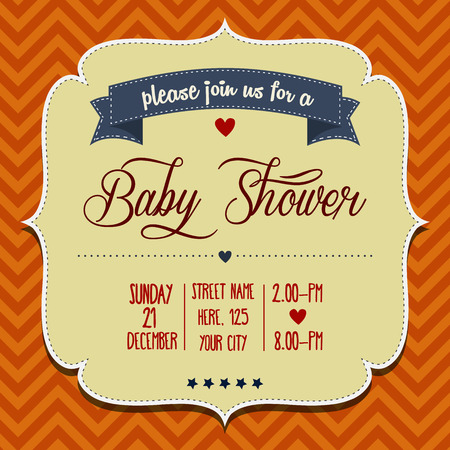 baby shower party: baby shower invitation in retro style, vector format Illustration