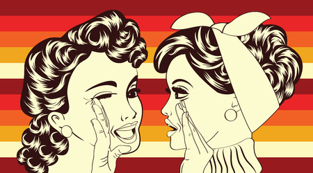 pop art retro women in comics style that gossip, vector illustration Ilustração