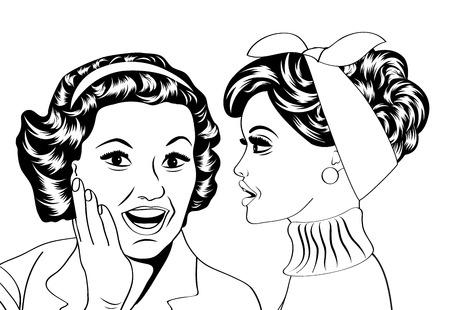 pop art retro women in comics style that gossip, vector illustration 向量圖像