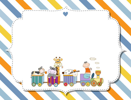 animal frame: customizable childish background  for baby shower announcement or birthday party