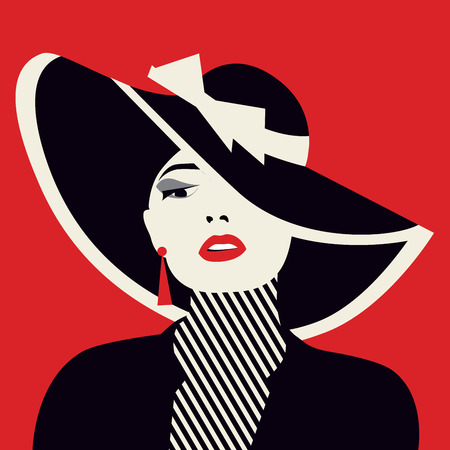 glamour woman elegant: stylized sexy woman with hut, vector illustration