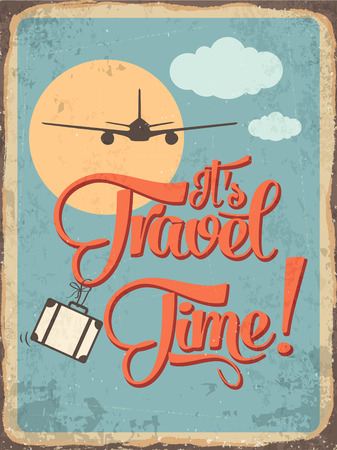 Retro metal sign its travel time, vector format Vector