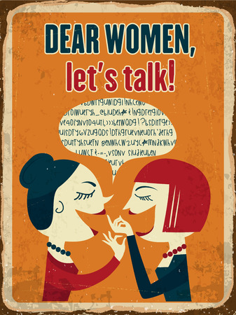 rumor: Retro metal sign Dear women, lets talk, vector format