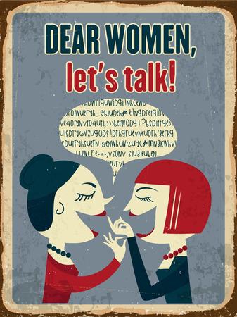 metal sign: Retro metal sign Dear women, lets talk, vector format