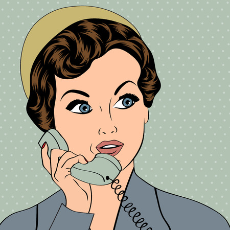woman chatting on the phone, pop art illustration in vector format Vector