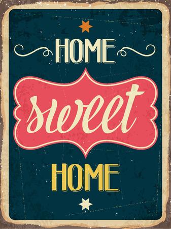 """Muestra retra del metal """"Home sweet home"""", formato vectorial eps10 Foto de archivo - 39344114"""