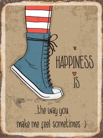 행복에 대한 레트로 금속 기호 일러스트