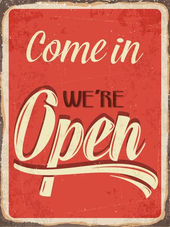 """fond de texte: R�tro signe de m�tal """"Venez nous sommes ouverts"""" Illustration"""