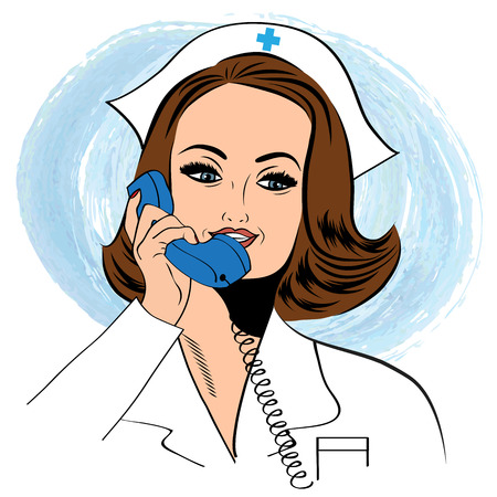 nursing uniforms: Beautiful friendly and confident nurse  Illustration