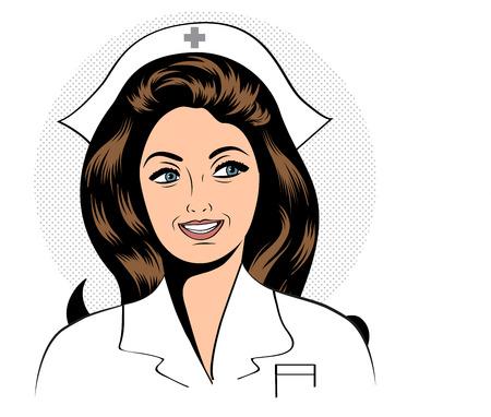 nursing uniforms: Hermosa enfermera amable y confiado, ilustraci�n vectorial Vectores