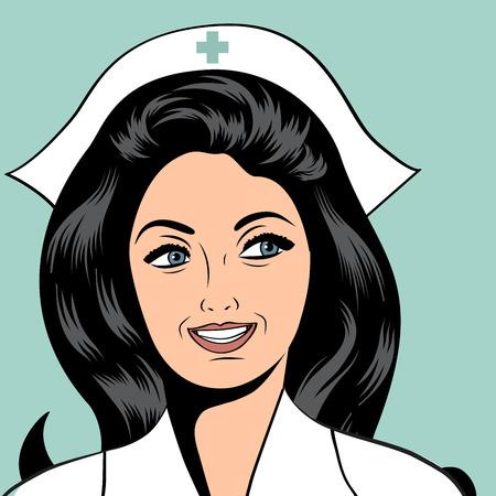 caricatura enfermera: Hermosa enfermera amable y confiada