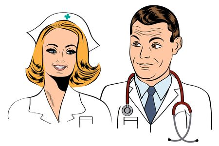 young male doctor: doctor and nurse, illustration format