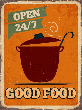 metal sign: Retro metal sign Good food, Illustration