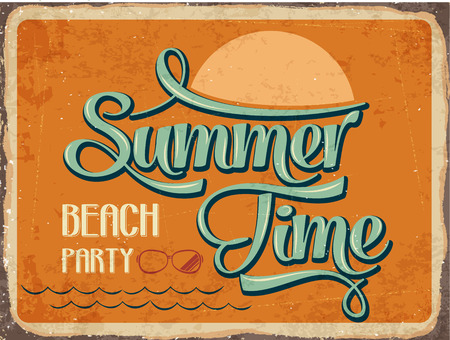 Retro metal sign Summer time,