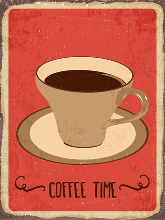 metal sign: Retro metal sign Coffee time, eps10 vector format Illustration