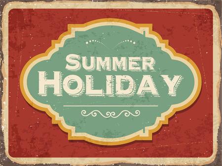 metal sign: Retro metal sign Summer holiday,vector format