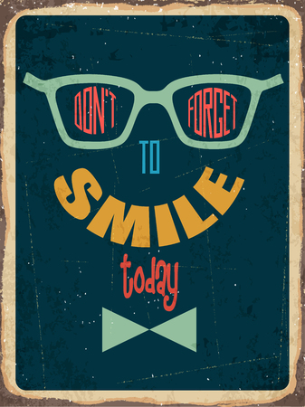 dont sign: Retro metal sign  Dont forget to smile,  vector format
