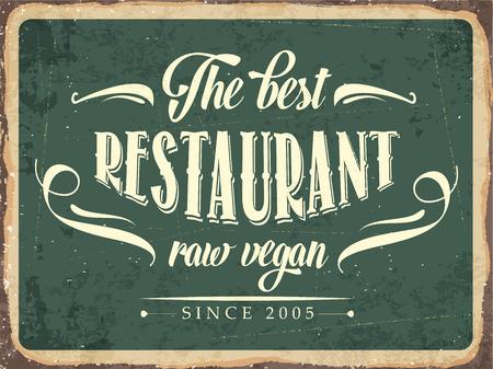 """rindfleisch roh: Retro Blechschild """"Das beste Restaurant raw vegan"""","""