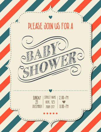 shower: baby shower invitation in retro style, vector format Illustration